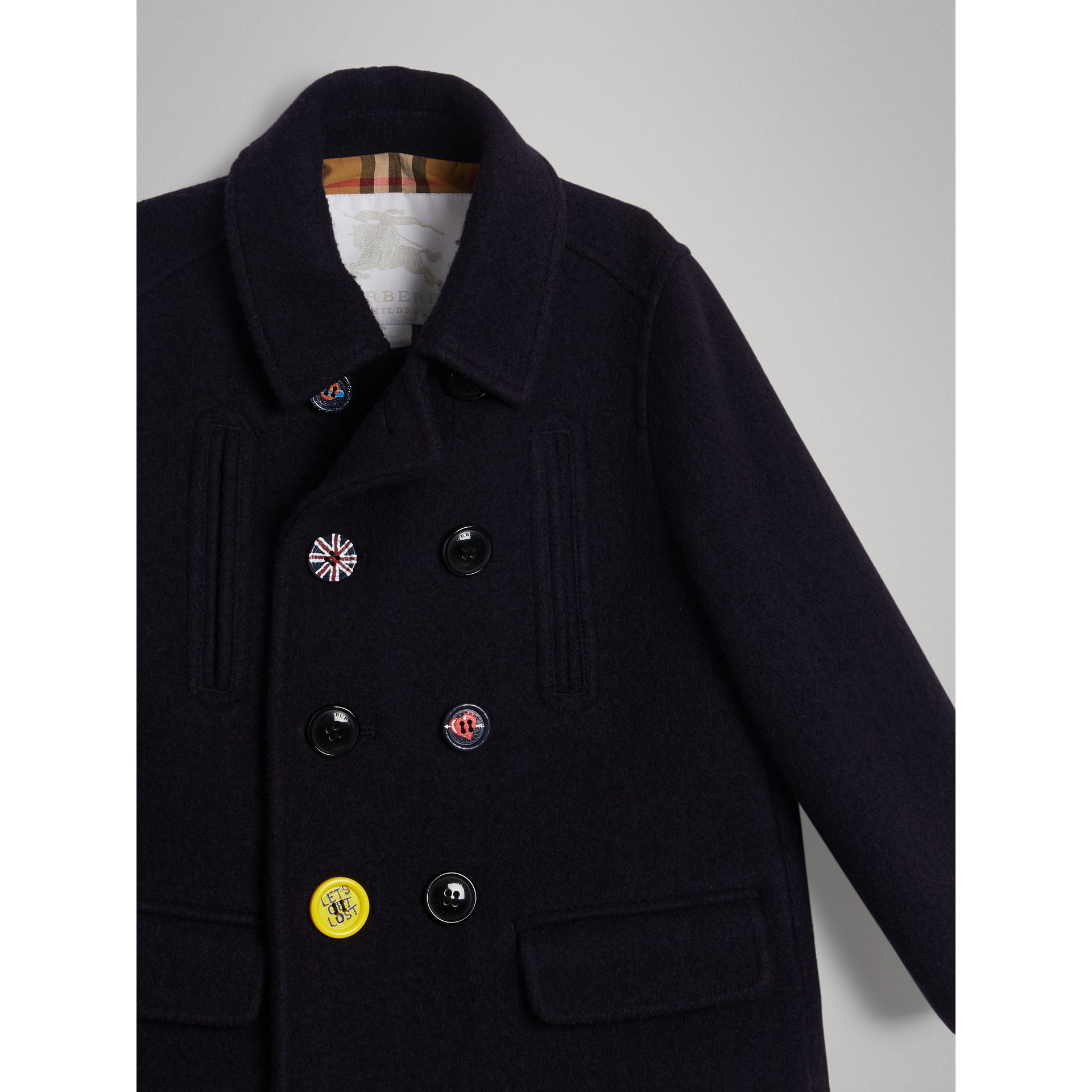 Painted Button Wool Pea Coat in Navy | Burberry Singapore - gallery image 4