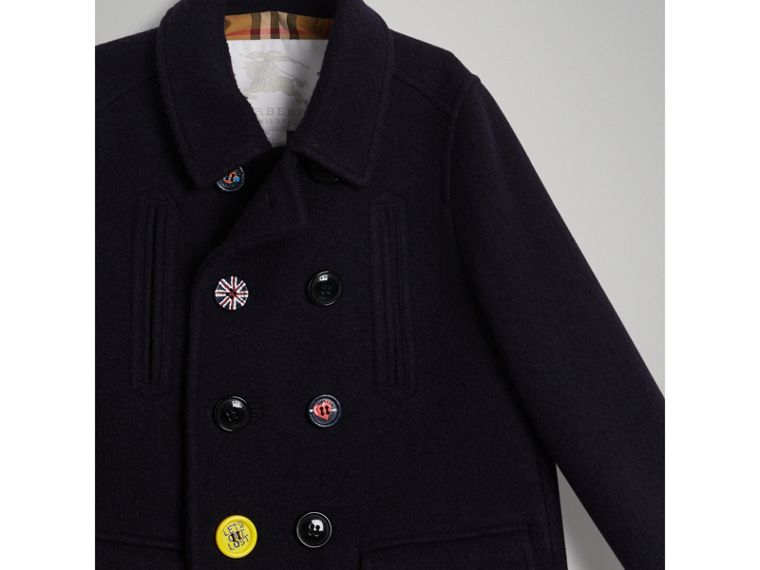 Painted Button Wool Pea Coat in Navy - Boy | Burberry - cell image 4