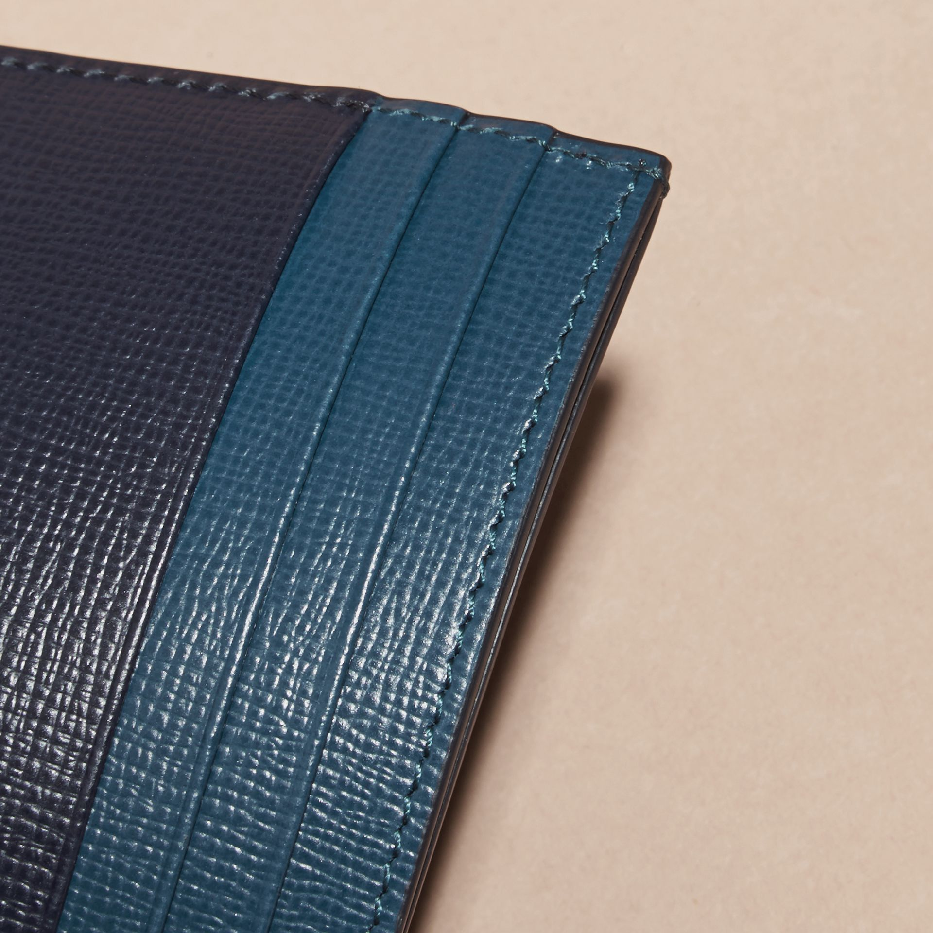Dark navy/mineral blue Colour Block London Leather Card Case Dark Navy/mineral Blue - gallery image 2
