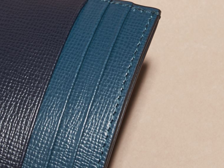 Dark navy/mineral blue Colour Block London Leather Card Case Dark Navy/mineral Blue - cell image 1