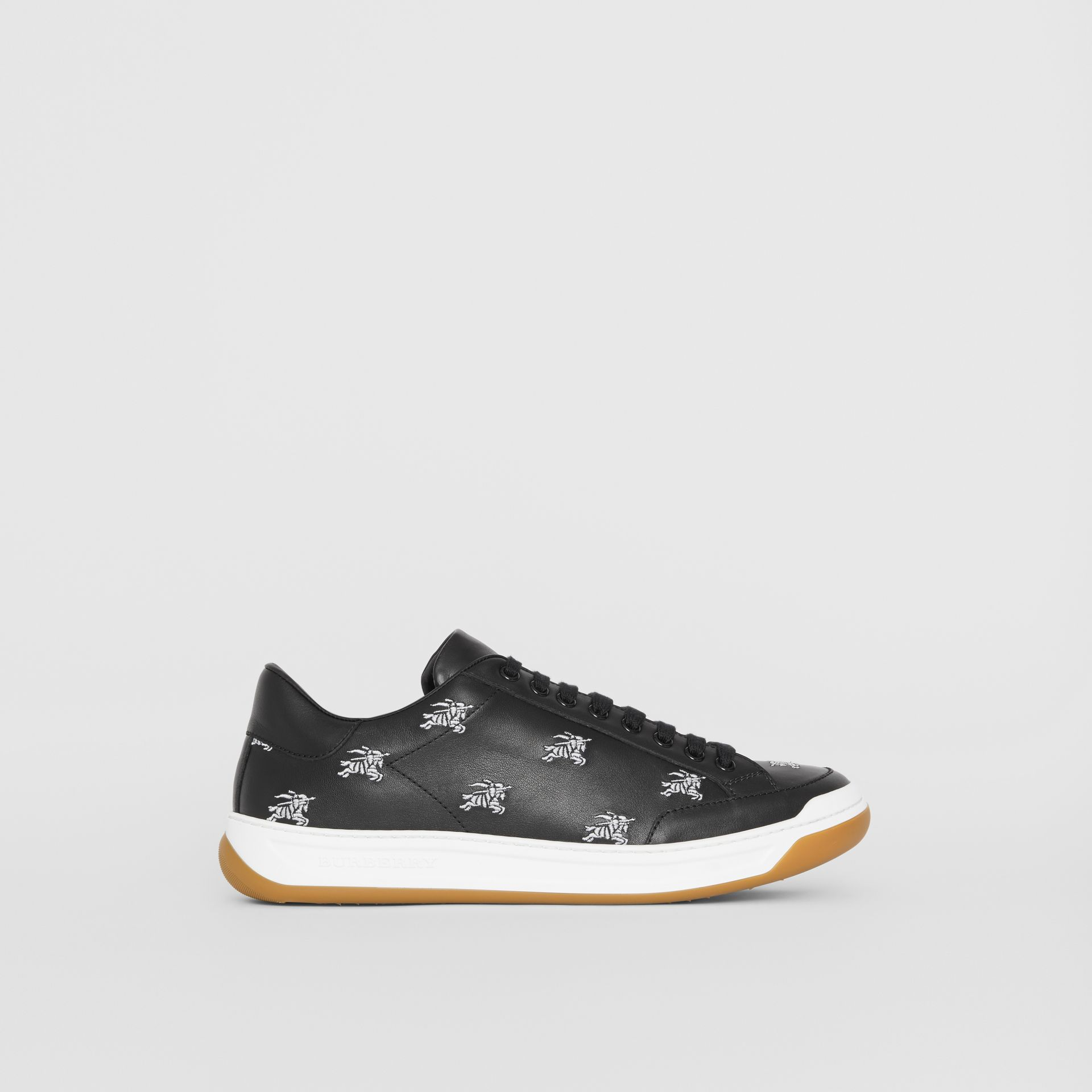 Logo Print Leather Sneakers in Black - Men | Burberry Canada - gallery image 4