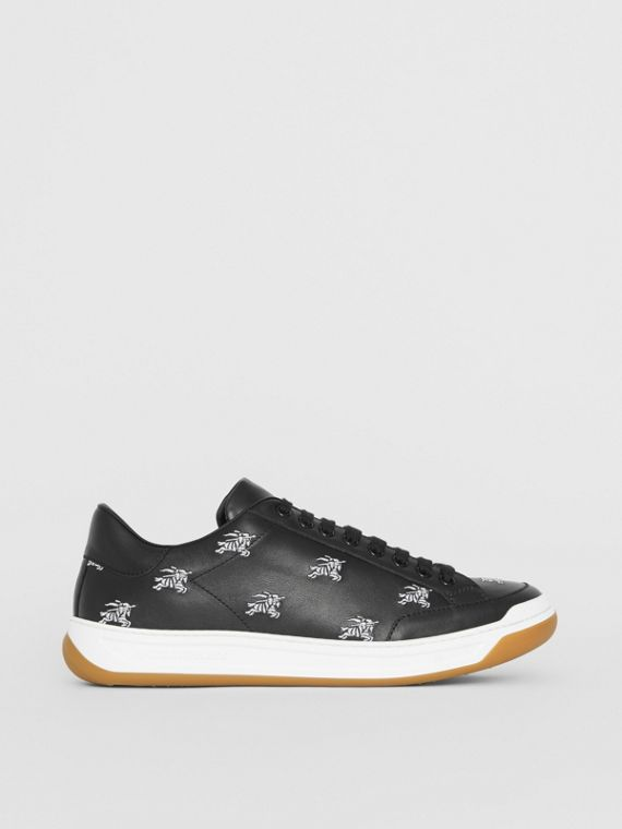 Logo Print Leather Sneakers in Black
