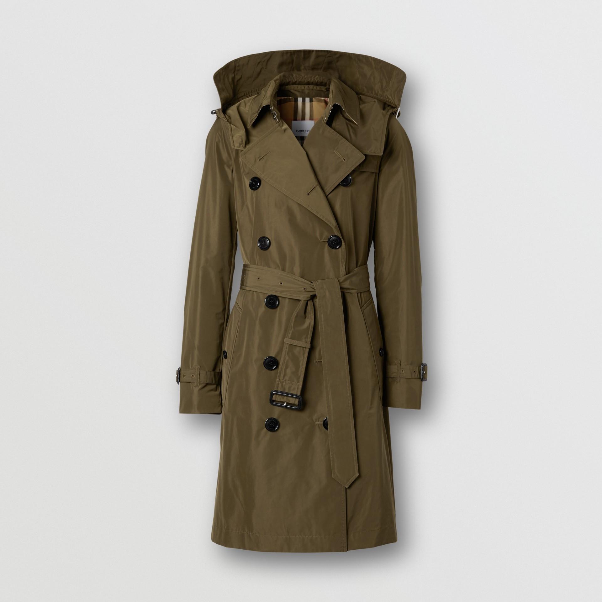 Detachable Hood Shape-memory Taffeta Trench Coat in Khaki - Women   Burberry United Kingdom - gallery image 3