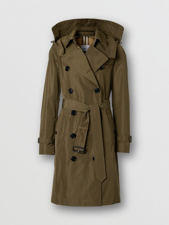 Detachable Hood Shape-memory Taffeta Trench Coat in Khaki