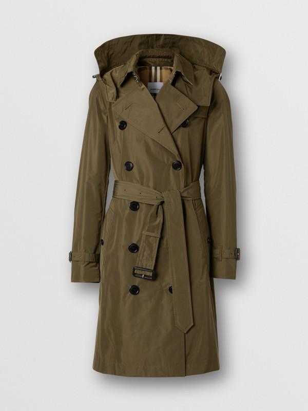Detachable Hood Shape-memory Taffeta Trench Coat in Khaki - Women   Burberry United Kingdom - cell image 3