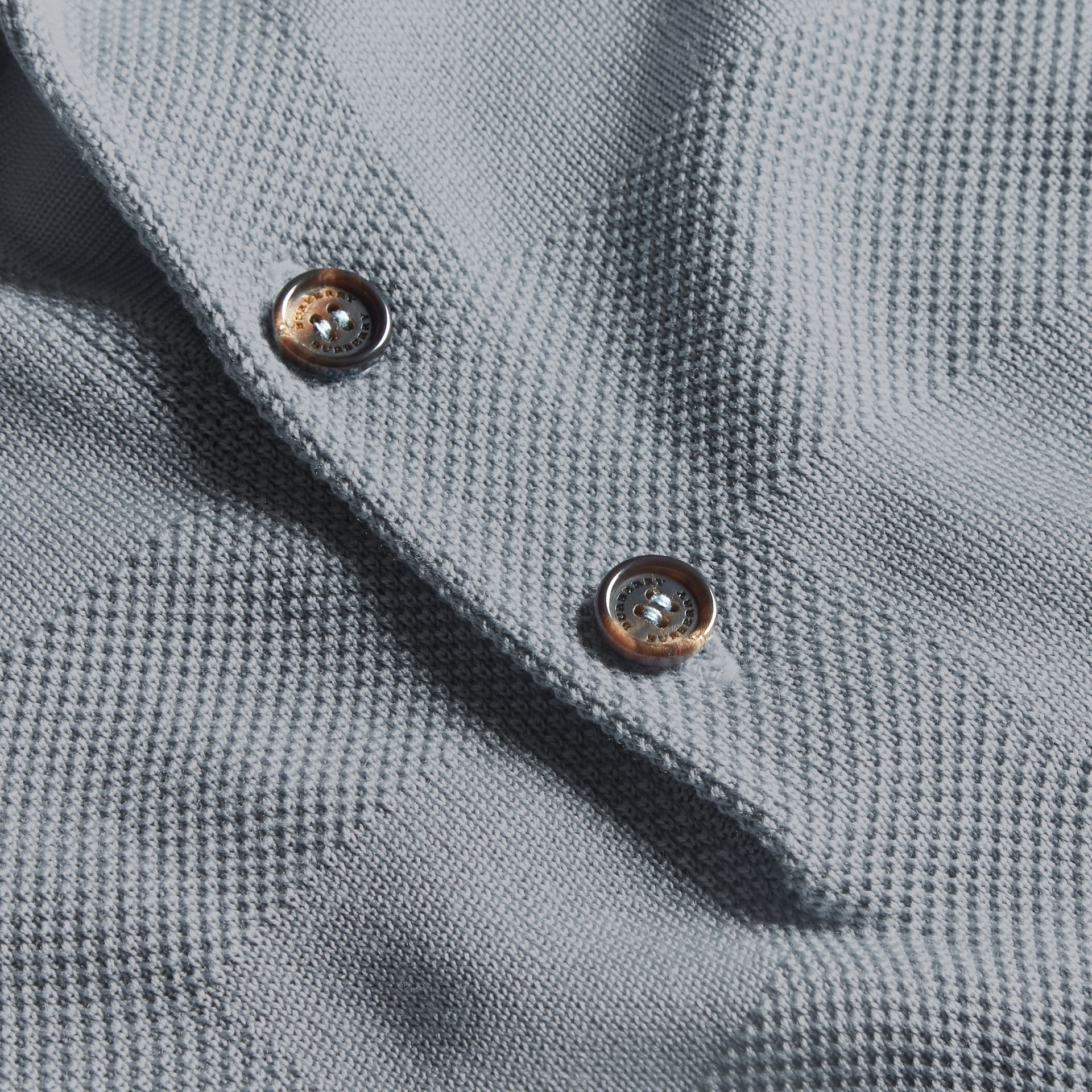 Check Jacquard Piqué Silk Cotton Polo Shirt in Slate Blue - Men | Burberry - gallery image 2