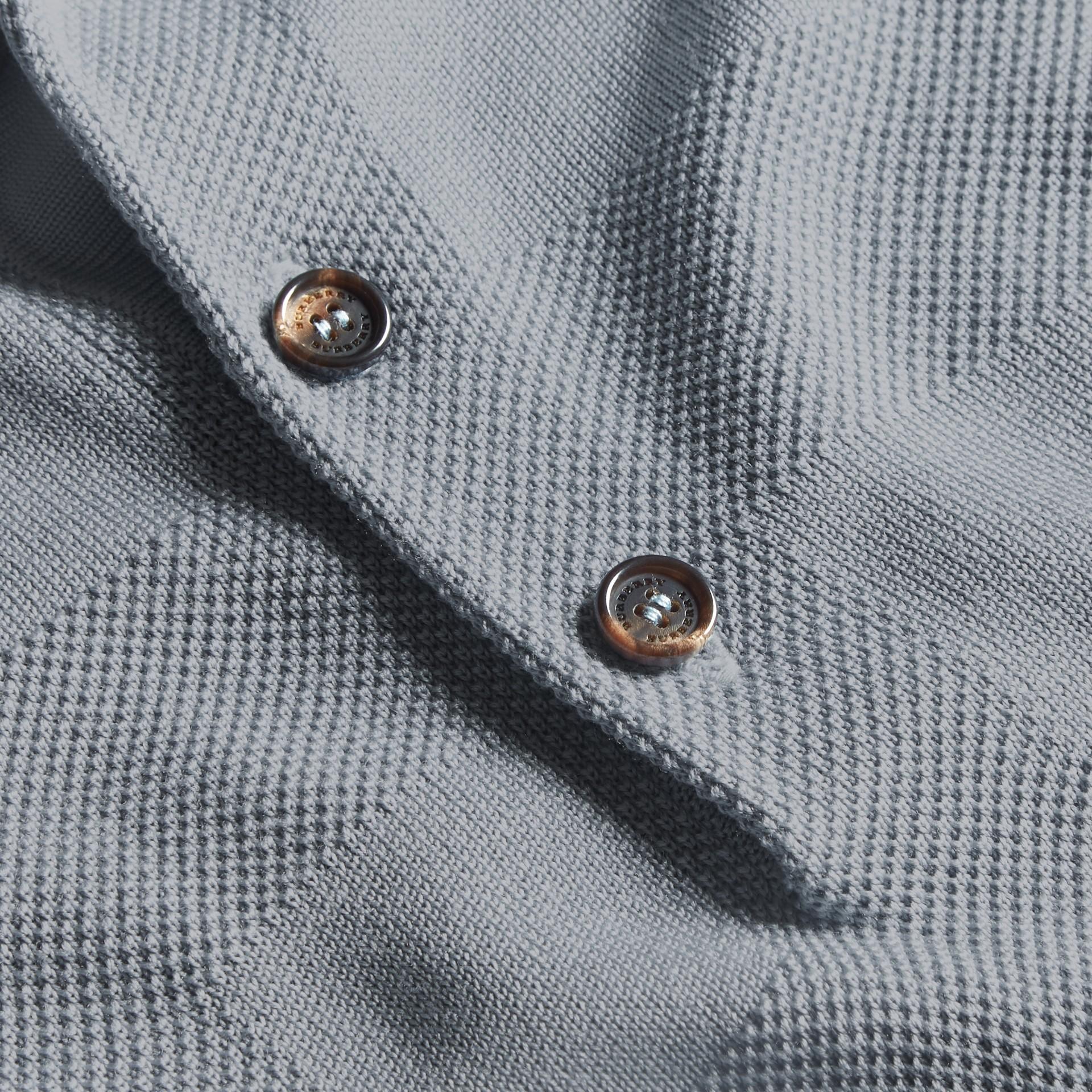 Check Jacquard Piqué Silk Cotton Polo Shirt in Slate Blue - Men | Burberry Singapore - gallery image 2