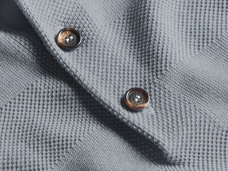Check Jacquard Piqué Silk Cotton Polo Shirt in Slate Blue - Men | Burberry - cell image 1