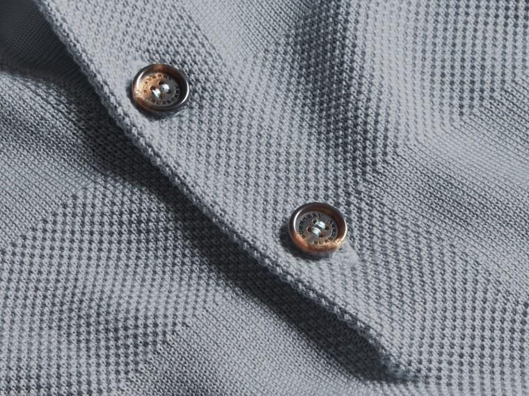 Check Jacquard Piqué Silk Cotton Polo Shirt in Slate Blue - Men | Burberry Australia - cell image 1