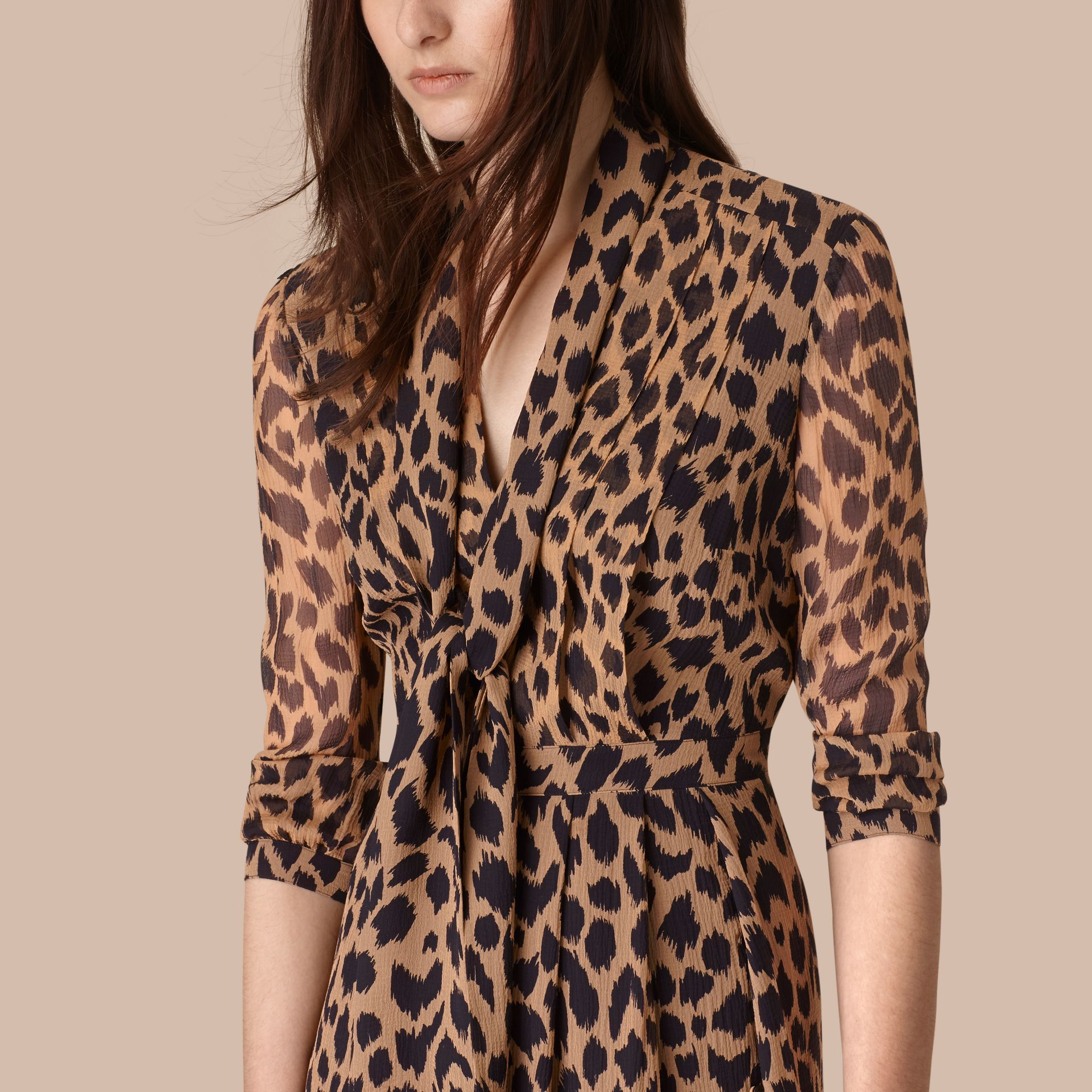 Camel/black Tie Detail Animal Print Silk Dress - gallery image 2