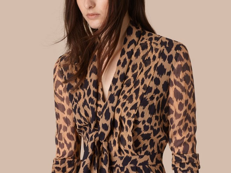 Camel/black Tie Detail Animal Print Silk Dress - cell image 1