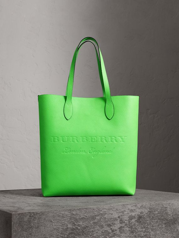 Medium Embossed Leather Tote in Neon Green