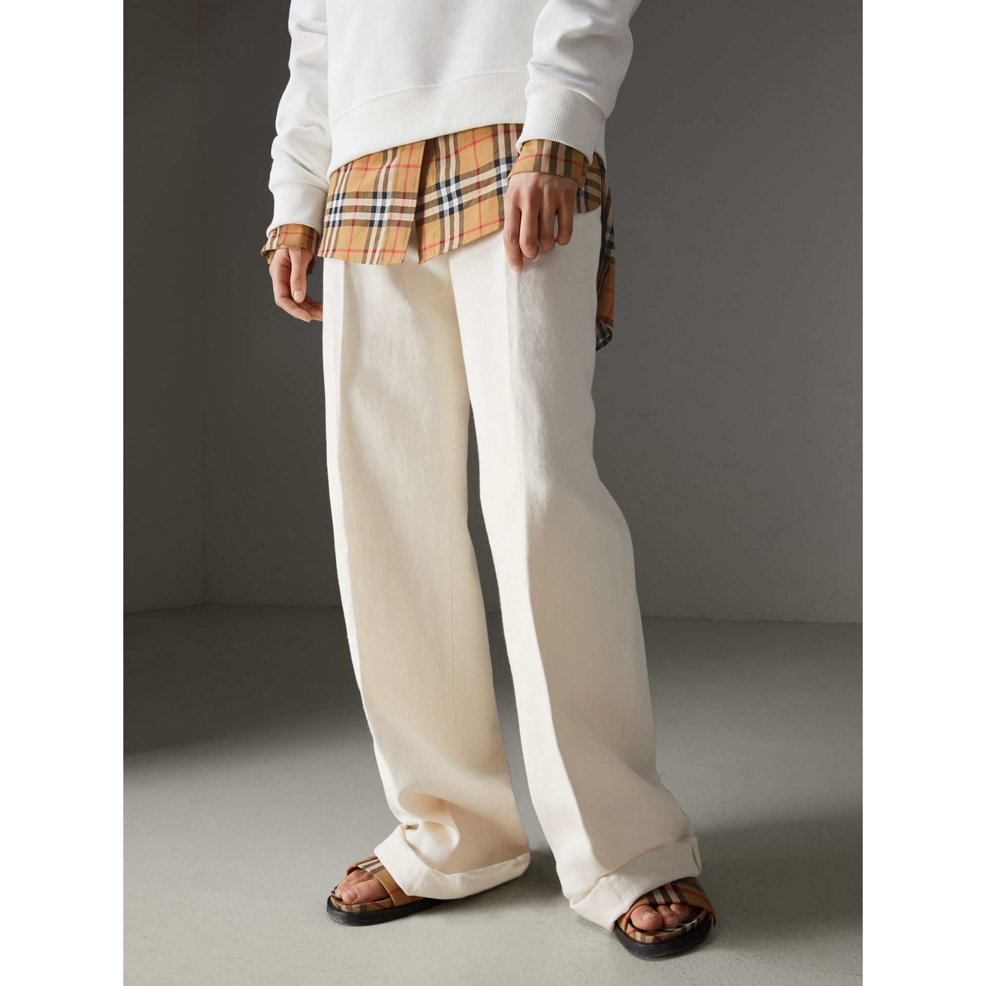 Cotton Linen Canvas Wide-leg Trousers in Off White - Women | Burberry - gallery image 4