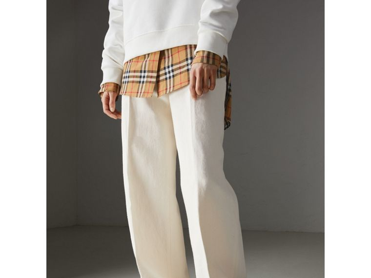Cotton Linen Canvas Wide-leg Trousers in Off White - Women | Burberry - cell image 4
