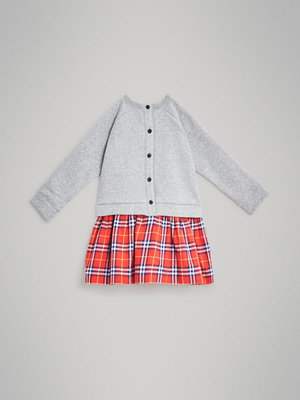 Check Cotton Sweatshirt Dress in Orange Red - Children | Burberry - cell image 3