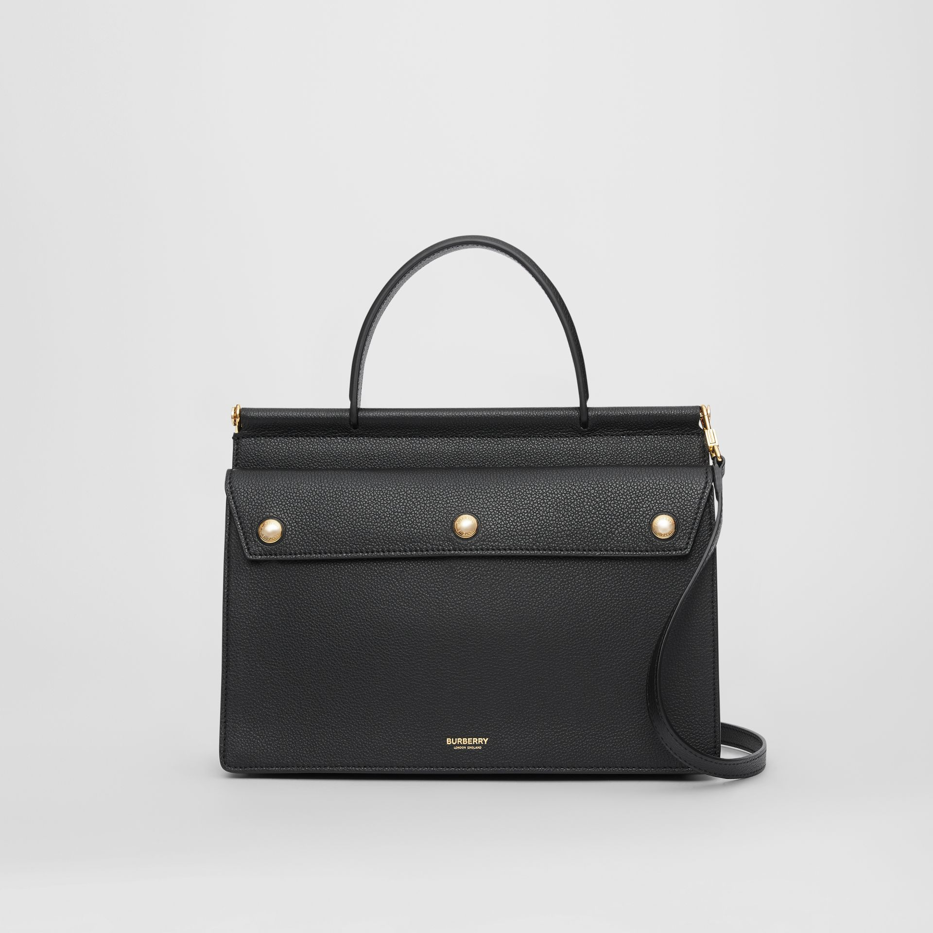 Small Leather Title Bag with Pocket Detail in Black - Women | Burberry Hong Kong S.A.R - gallery image 0