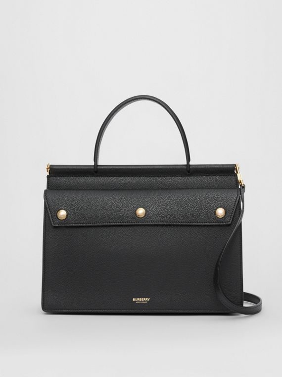 Small Leather Title Bag with Pocket Detail in Black