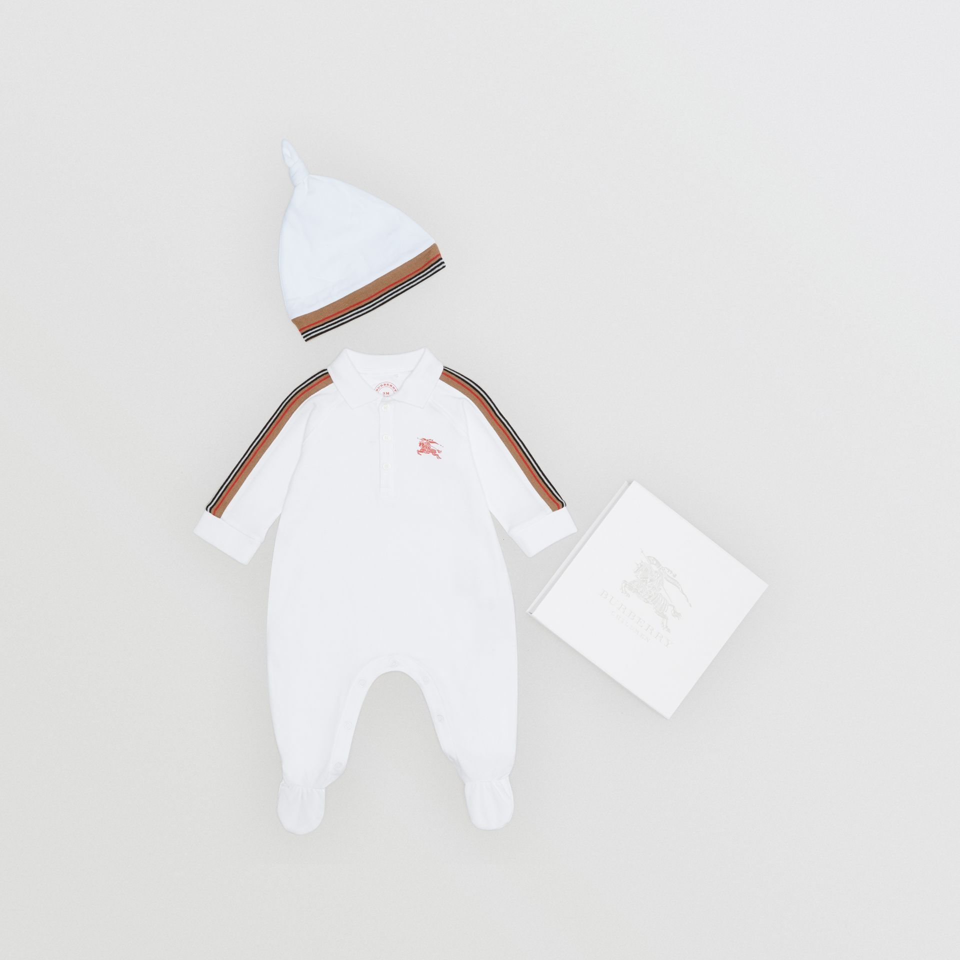 Icon Stripe Two-piece Baby Gift Set in White - Children | Burberry - gallery image 0