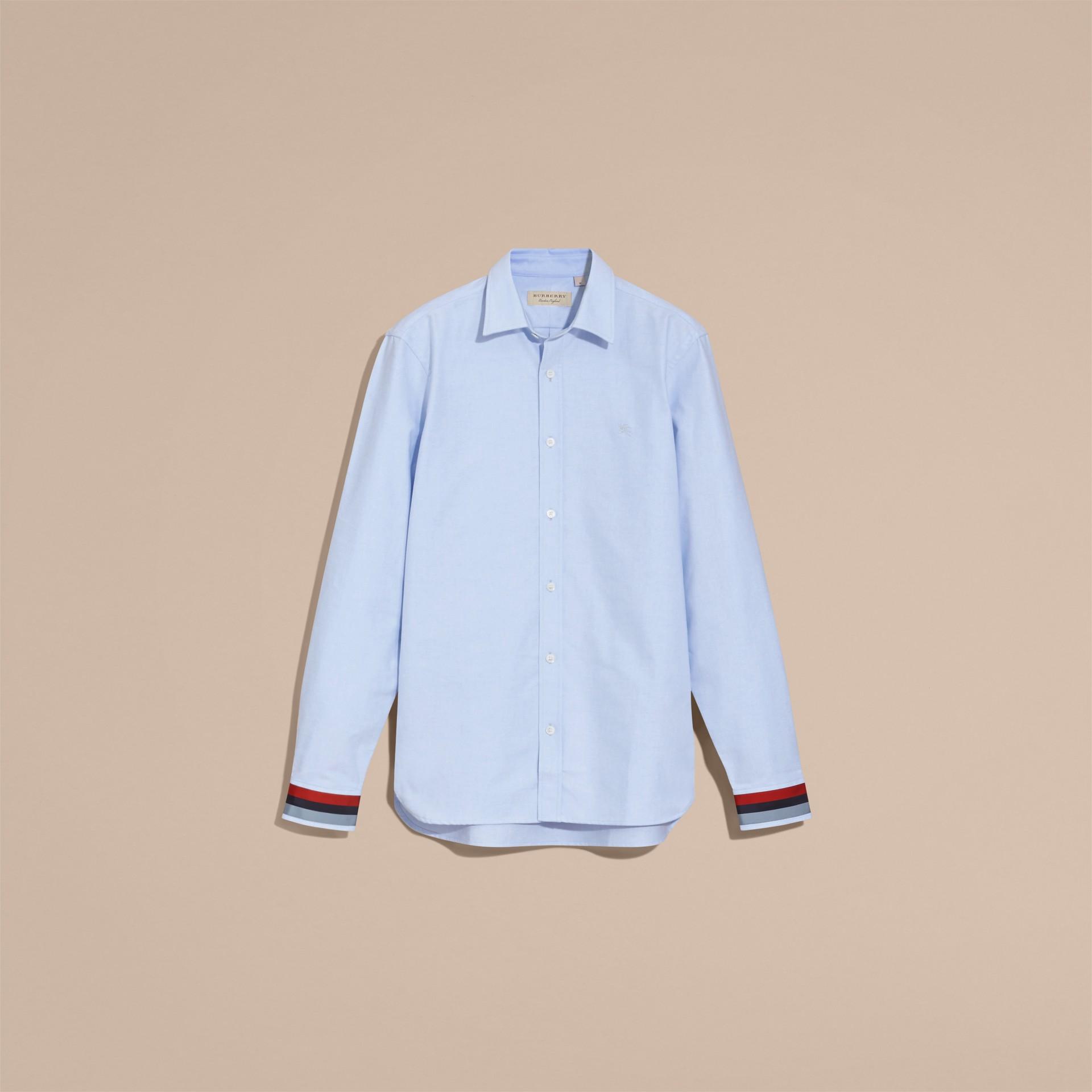 Oxford Cotton Shirt with Regimental Cuff Detail Cornflower Blue - gallery image 4