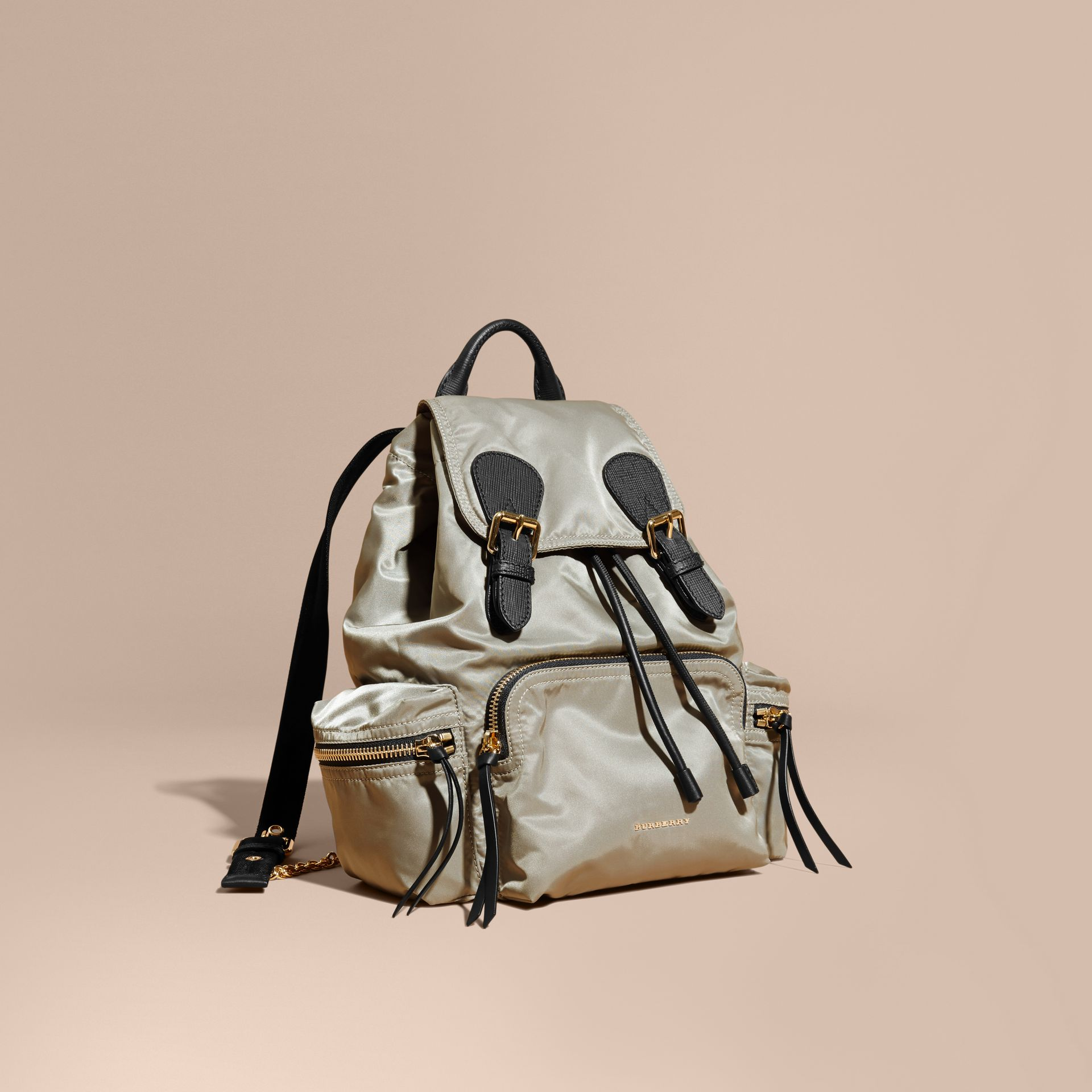 The Medium Rucksack in Technical Nylon and Leather Thistle Grey - gallery image 1