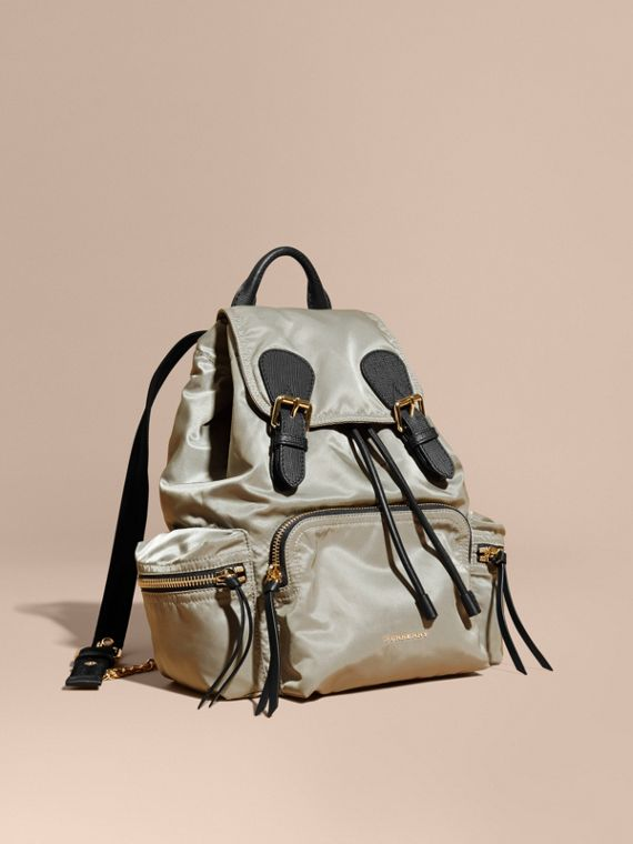 The Medium Rucksack in Technical Nylon and Leather Thistle Grey