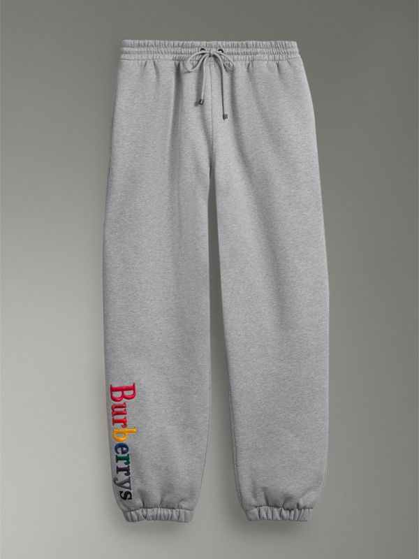 Archive Logo Jersey Sweatpants in Grey Melange - Women | Burberry Singapore - cell image 3