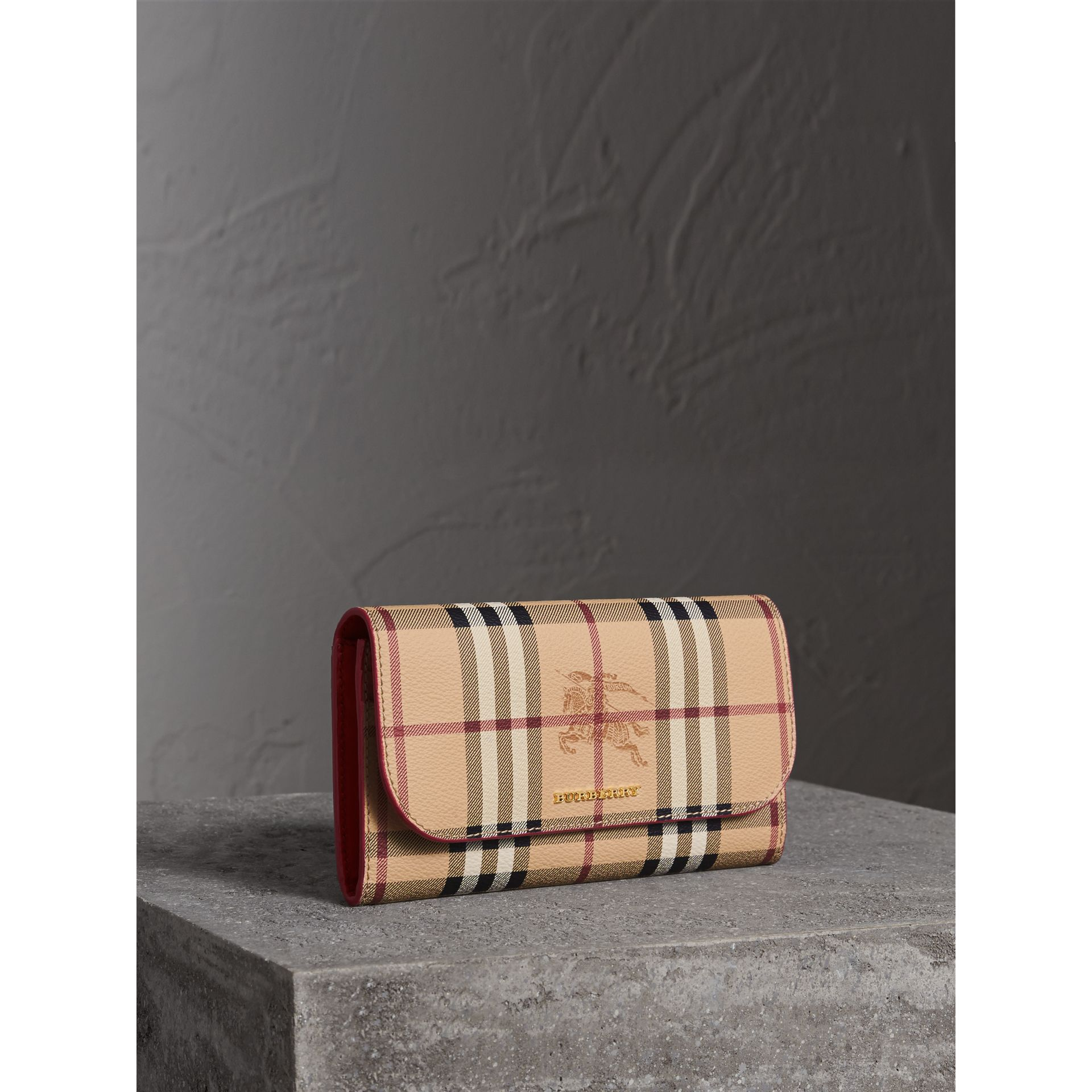Haymarket Check and Leather Slim Continental Wallet in Coral Red - Women | Burberry Australia - gallery image 1