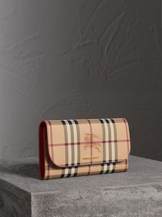 Haymarket Check and Leather Slim Continental Wallet in Coral Red - Women | Burberry Canada