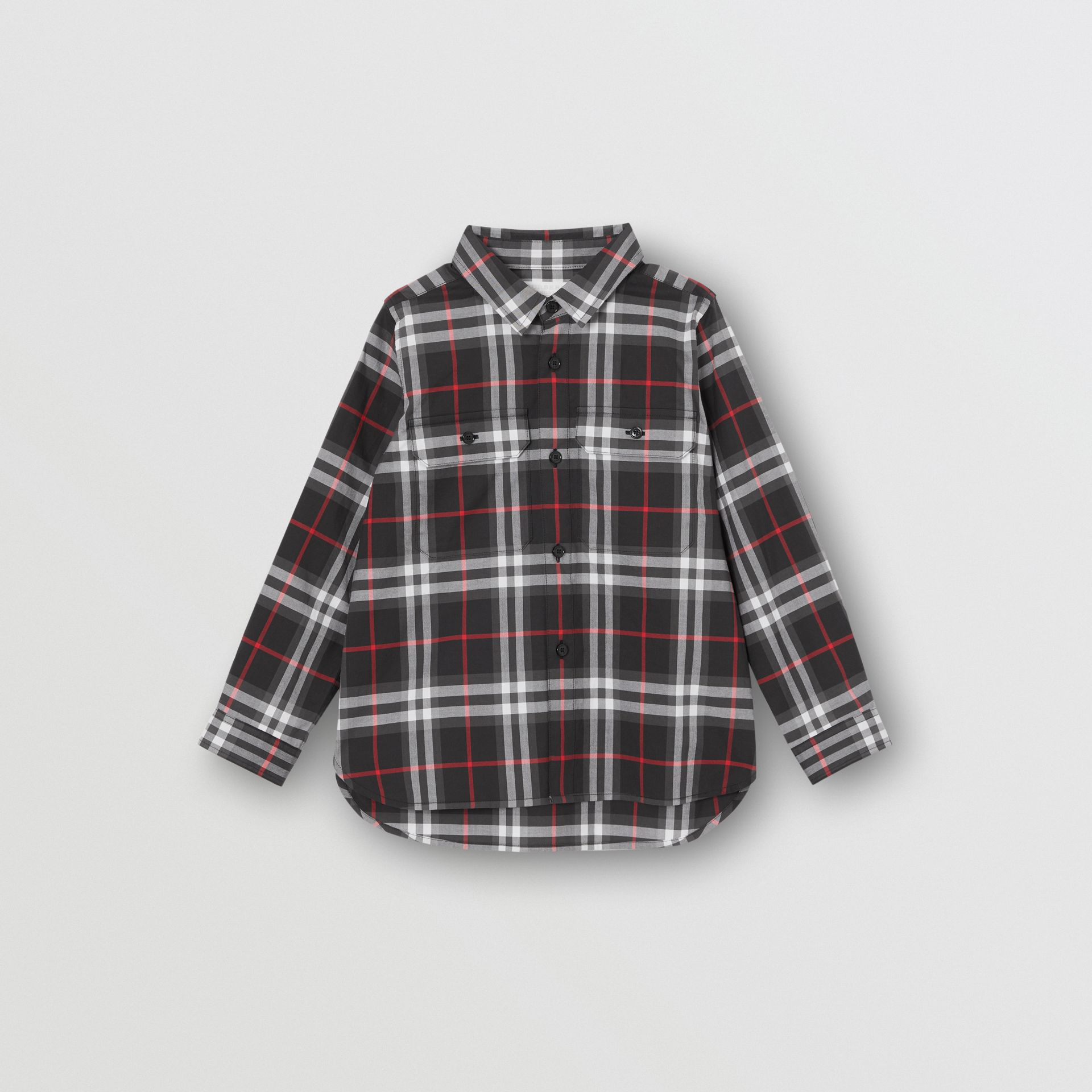 Vintage Check Cotton Shirt in Black | Burberry United Kingdom - gallery image 0