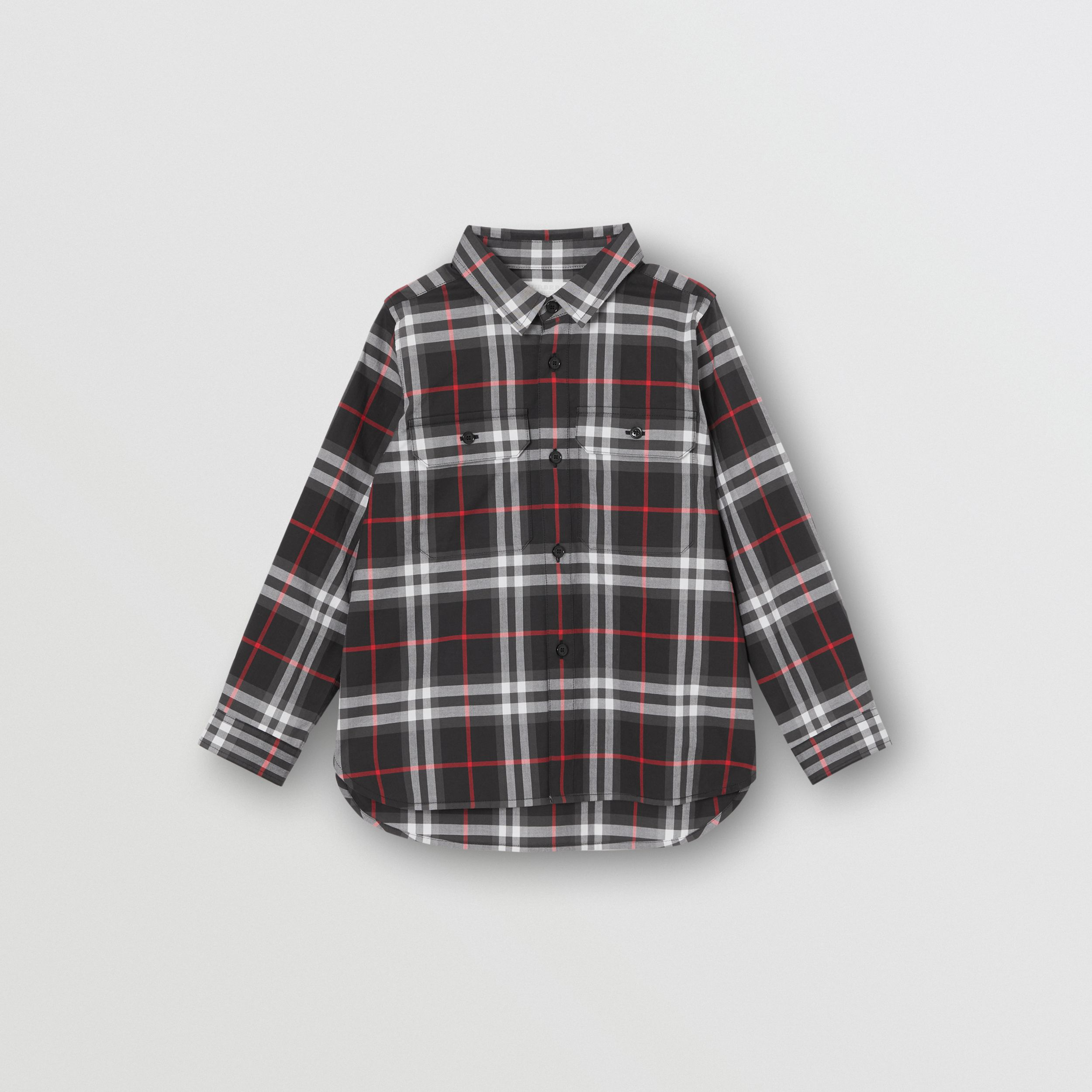 Vintage Check Cotton Shirt in Black | Burberry - 1