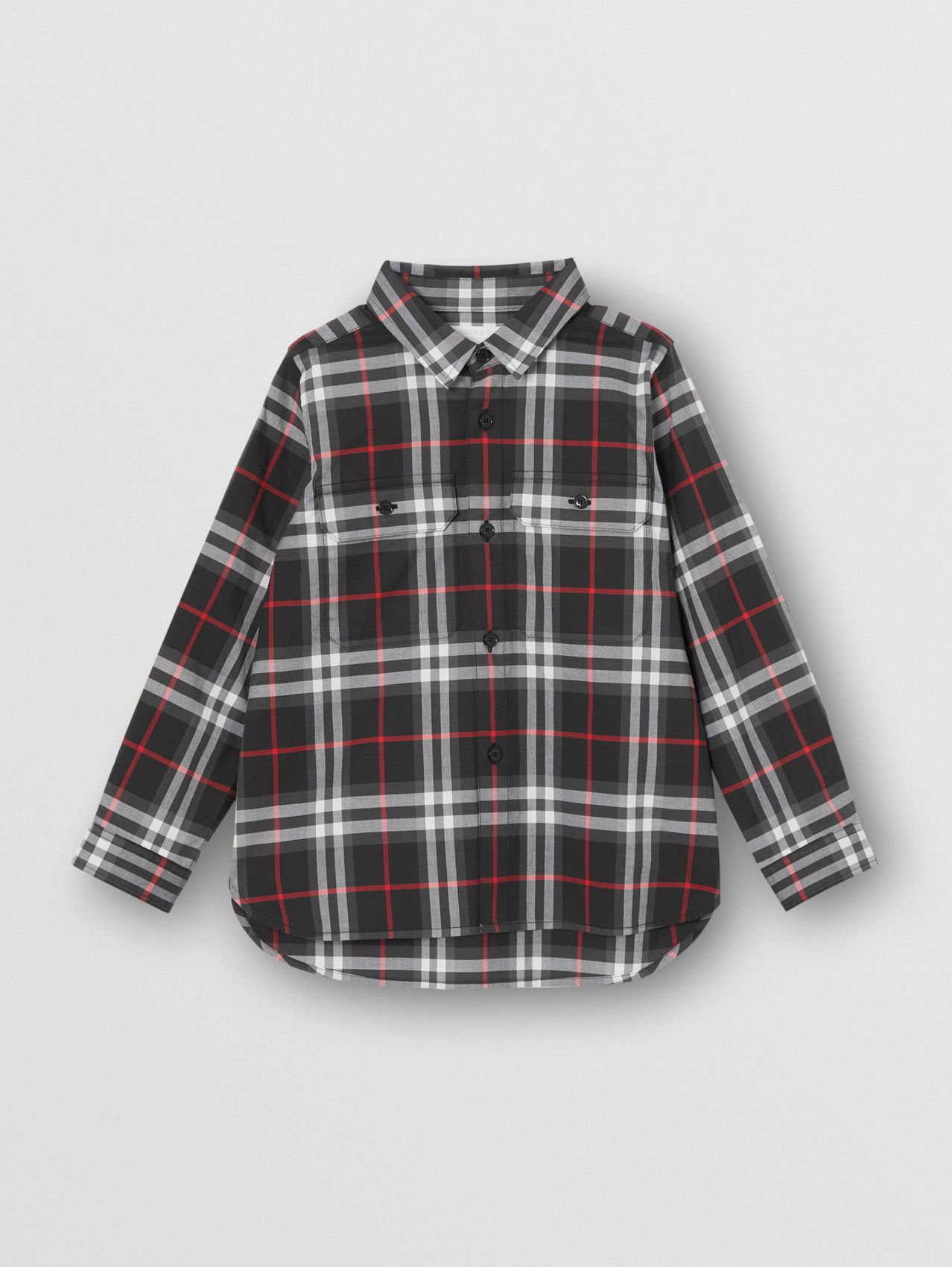 Vintage Check Cotton Shirt in Black