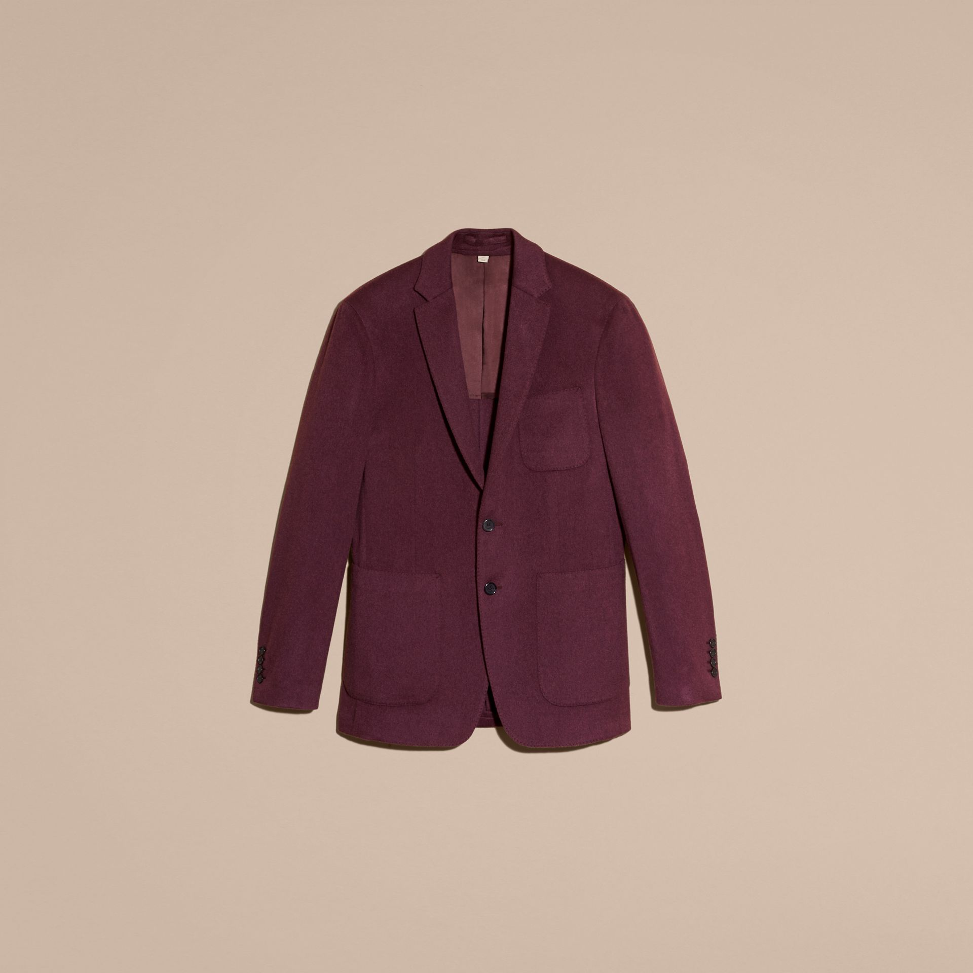 Modern Fit Lightweight Cashmere Tailored Jacket Deep Claret - gallery image 4
