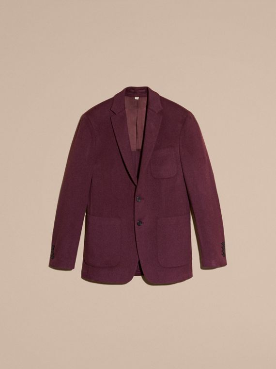 Modern Fit Lightweight Cashmere Tailored Jacket Deep Claret - cell image 3