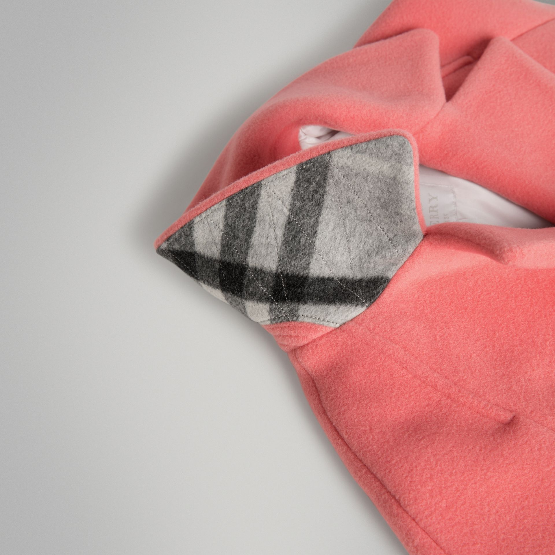 Boiled Wool Cocoon Coat in Bright Pink | Burberry - gallery image 1
