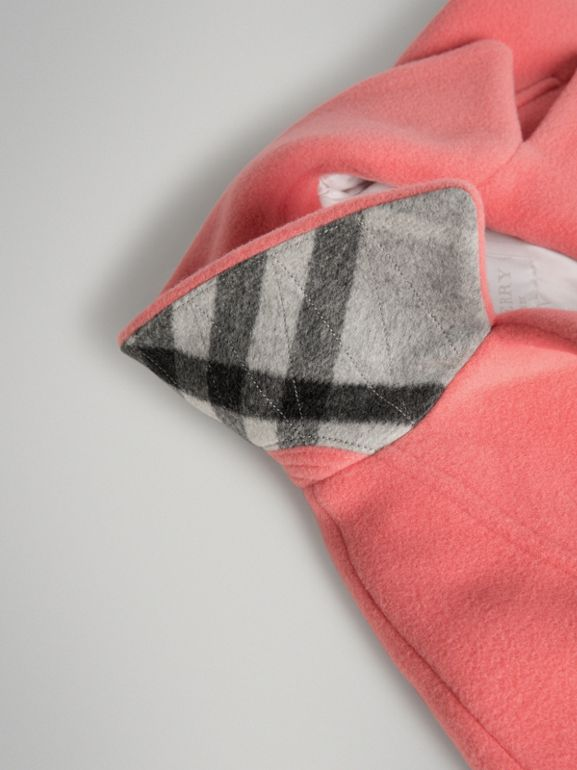 Boiled Wool Cocoon Coat in Bright Pink | Burberry - cell image 1