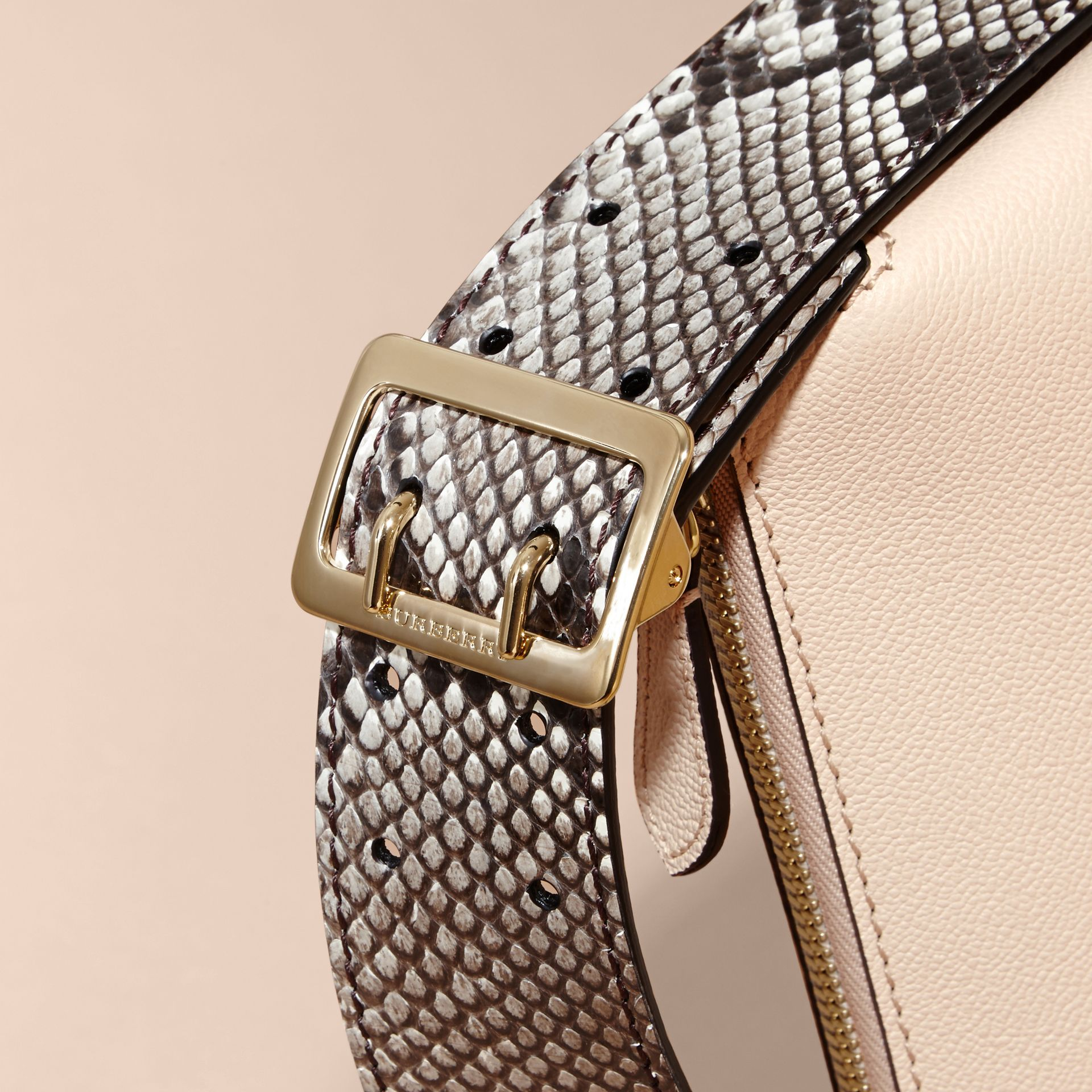 Limestone Python and Leather Crossbody Bag - gallery image 2