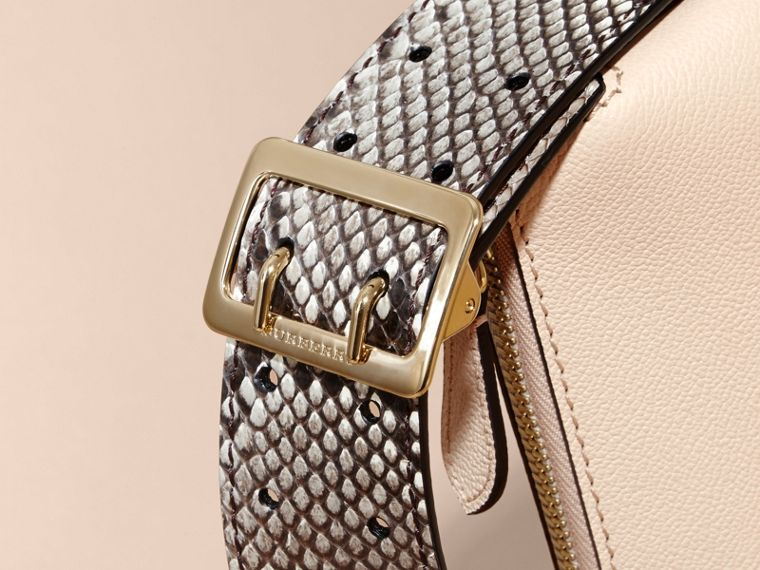 Limestone Python and Leather Crossbody Bag - cell image 1