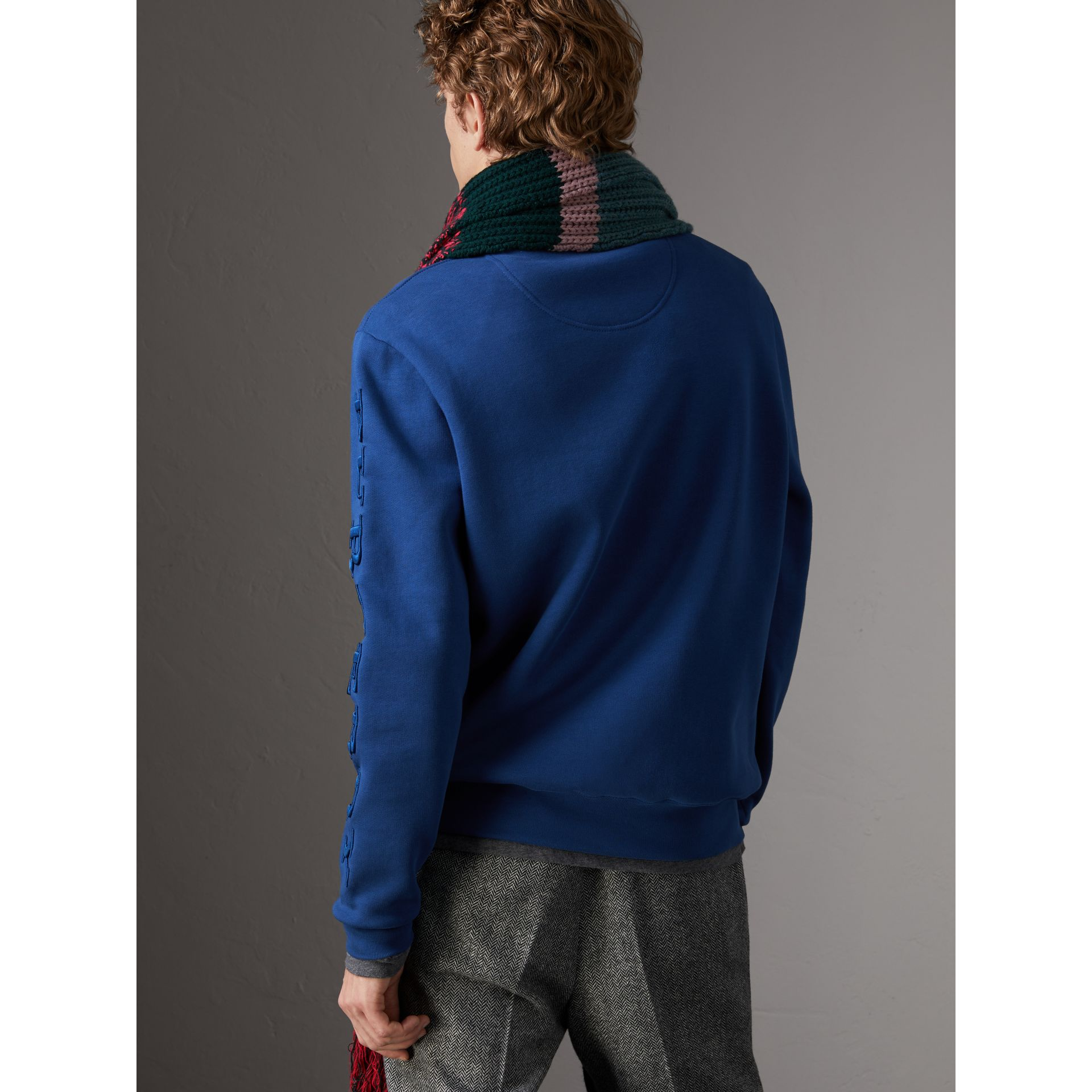 Cotton Jersey Sweatshirt in Bright Blue - Men | Burberry - gallery image 2
