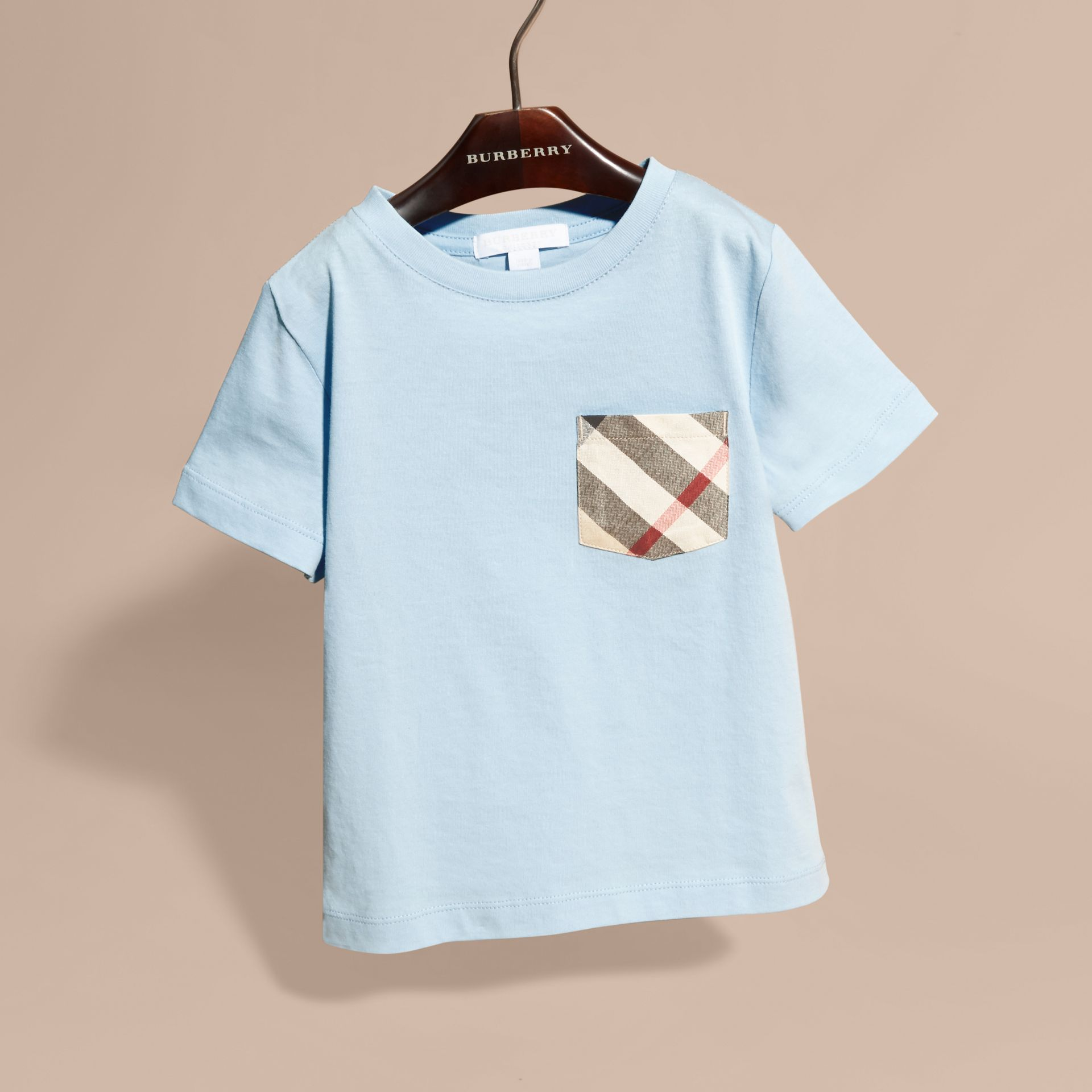 Check Pocket Cotton T-shirt in Light Blue - gallery image 3