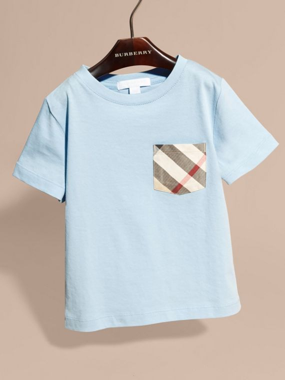 Check Pocket Cotton T-shirt in Light Blue - cell image 2