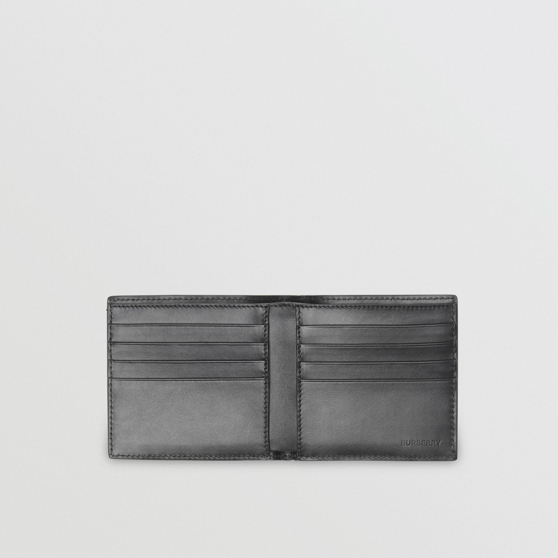 Monogram Leather International Bifold Wallet in Black | Burberry - gallery image 3
