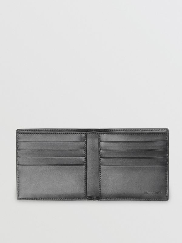 Monogram Leather International Bifold Wallet in Black | Burberry United States - cell image 3