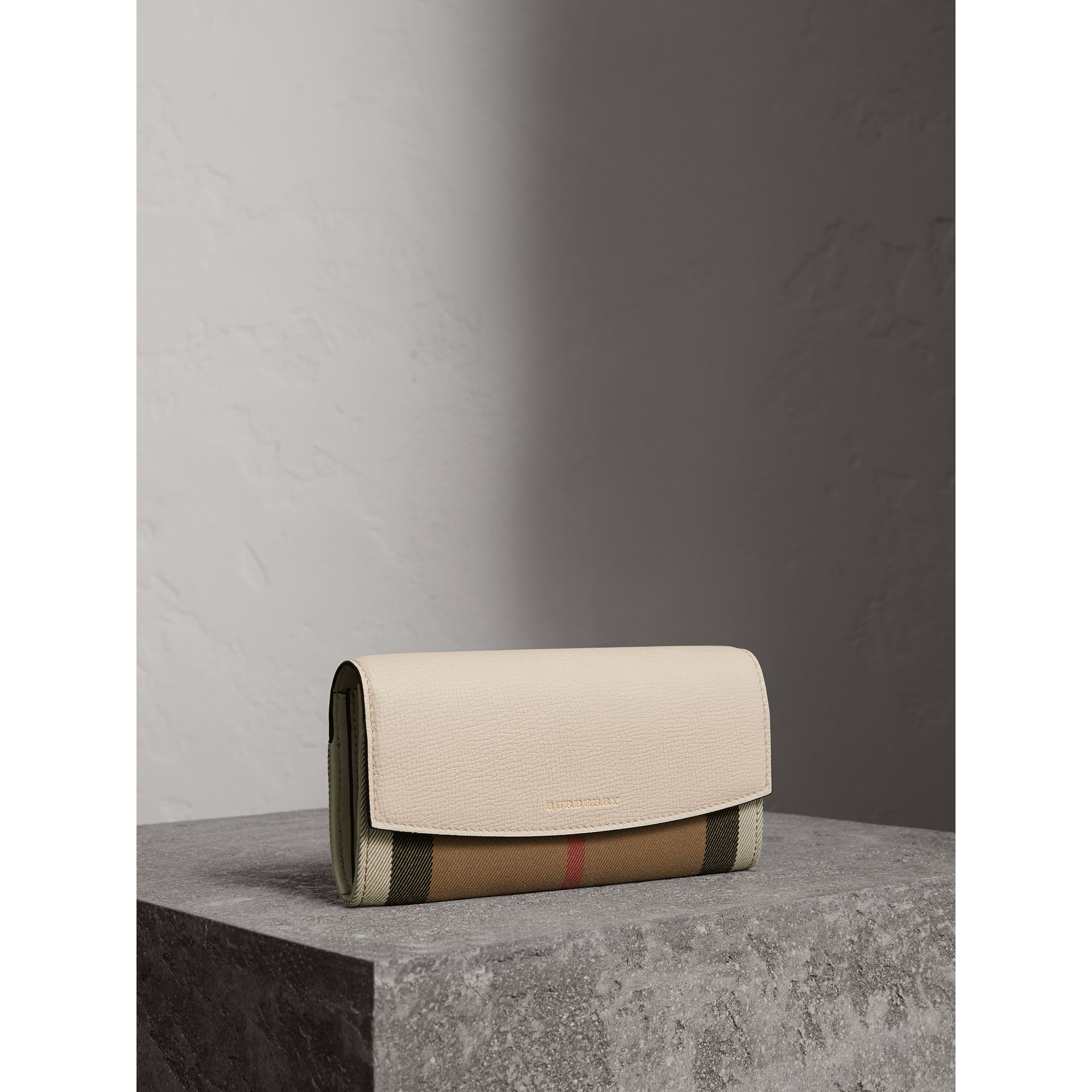 House Check And Leather Continental Wallet in Limestone - Women | Burberry - gallery image 0
