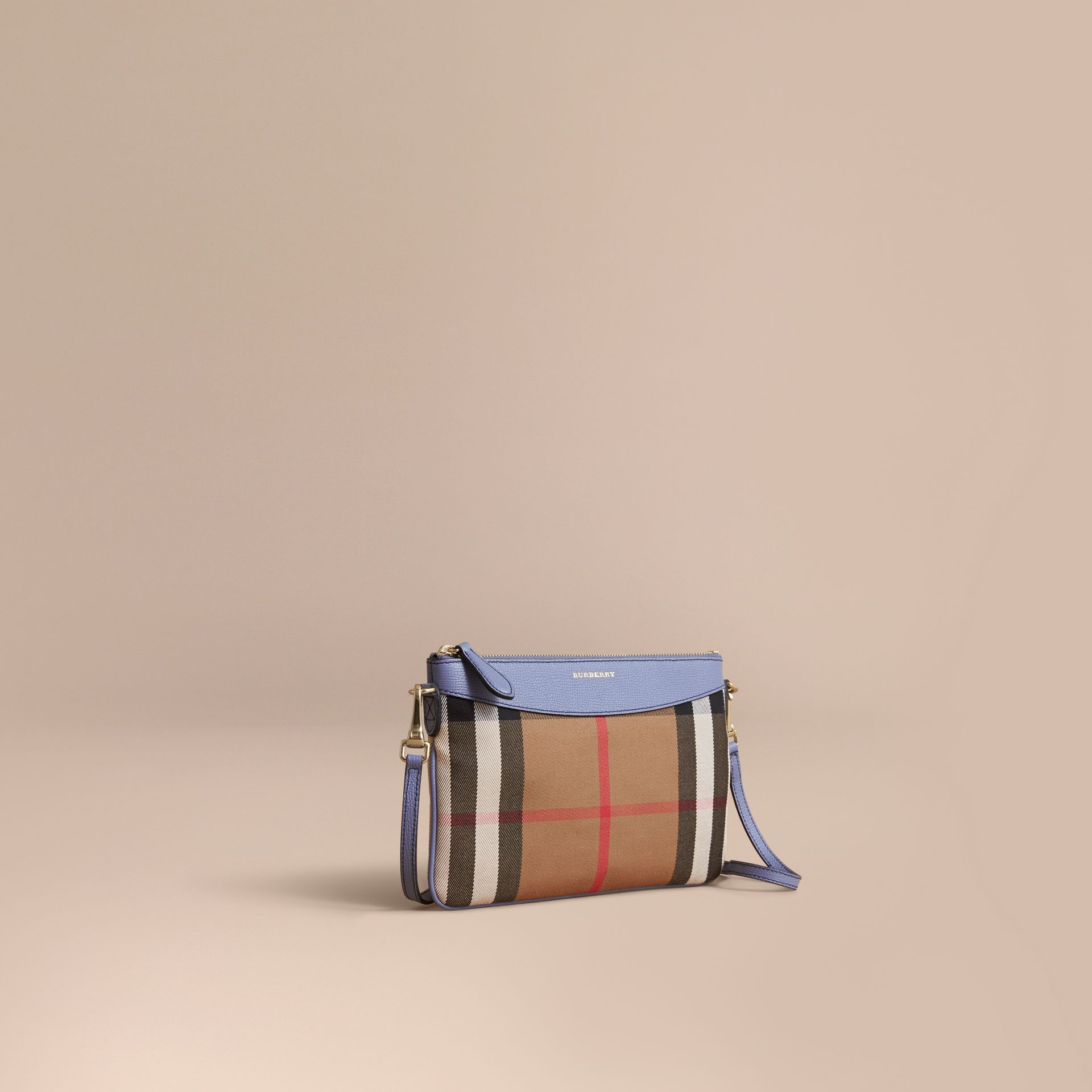 House Check and Leather Clutch Bag in Slate Blue - Women | Burberry - gallery image 1
