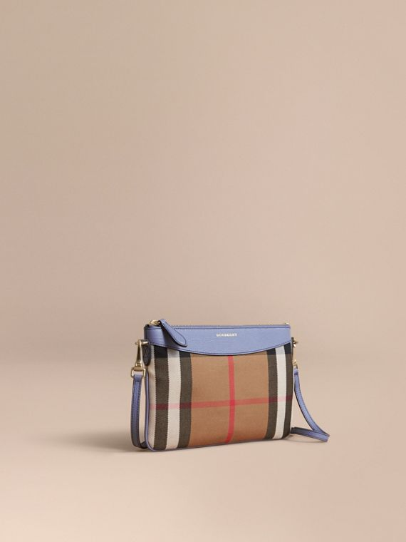 House Check and Leather Clutch Bag in Slate Blue - Women | Burberry
