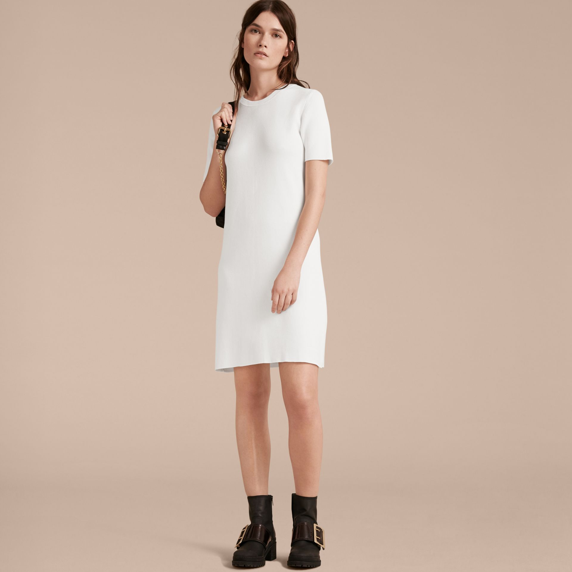 Natural white A-lIne Cotton Piqué Dress with Bow Detail - gallery image 6