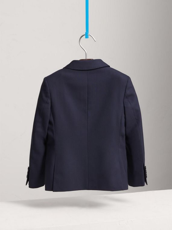 Single-breasted Wool Blazer in Navy - Boy | Burberry Canada - cell image 3
