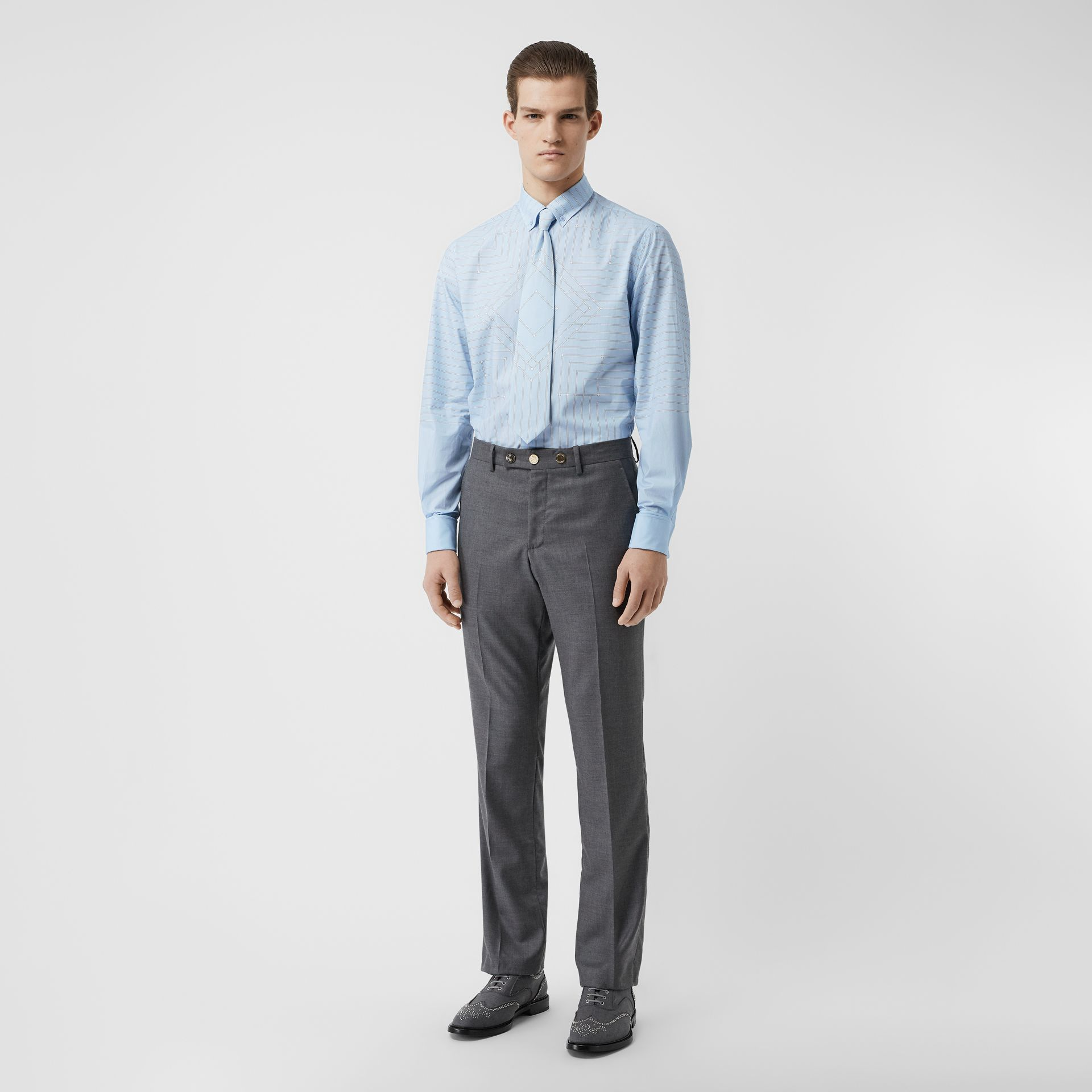 Button-down Collar Geometric Print Cotton Shirt in Pale Blue | Burberry - gallery image 0