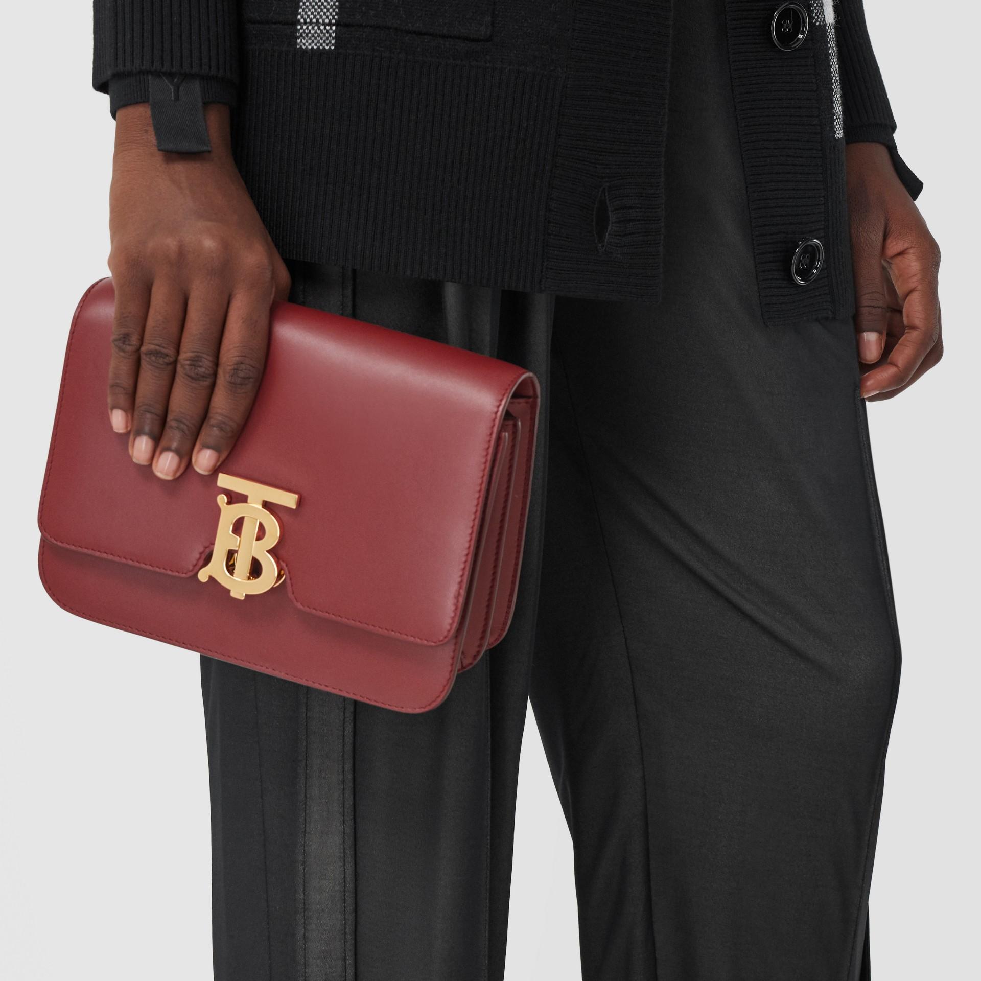 Small Leather TB Bag in Dark Crimson - Women   Burberry - gallery image 2