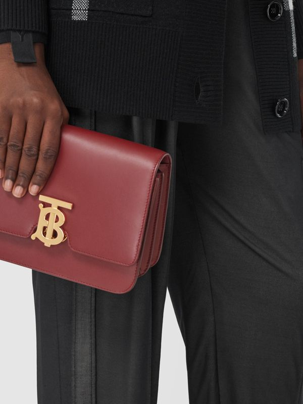 Small Leather TB Bag in Dark Crimson - Women   Burberry - cell image 2
